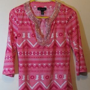 Inc Tunic Pink Printed W/ Embellished  W/ Beads Sm